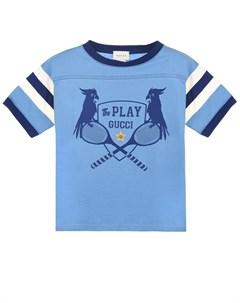 Голубая футболка с принтом the Play детская Gucci