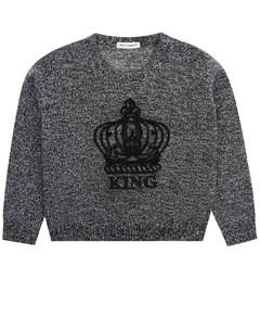 Серый джемпер с вышивкой King детский Dolce&gabbana