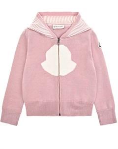 Розовая кофта из шерсти с ушками на капюшоне детская Moncler