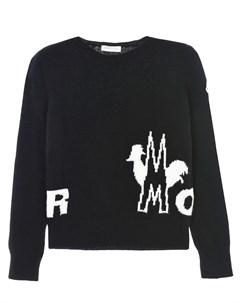 Черный джемпер из шерсти с крупным логотипом детский Moncler