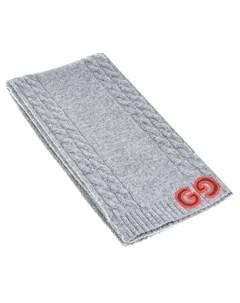 Серый шерстяной шарф с логотипом Gucci