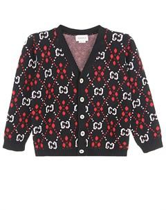 Кардиган из хлопка и шерсти с логотипом Gucci