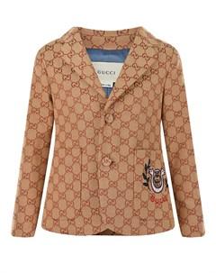 Бежевый пиджак с накладными карманами Gucci