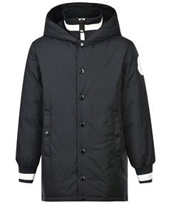 Черная пуховая куртка с капюшоном детская Moncler