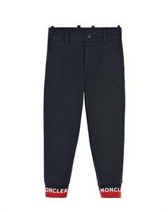 Синие брюки с логотипом на манжетах детские Moncler