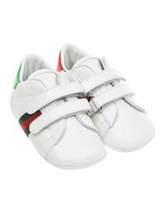 Белые пинетки на липучках детские Gucci