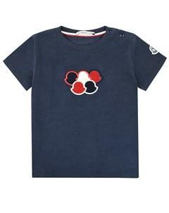 Синяя футболка с нашивками Moncler