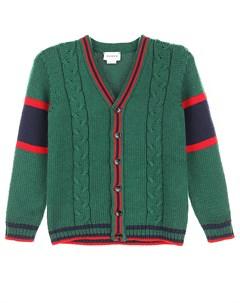 Зеленый кардиган на пуговицах Gucci