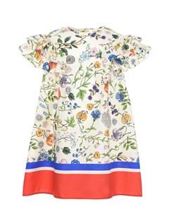 Поплиновое платье с цветочным принтом детское Gucci