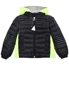 Черная куртка пуховик с цветными вставками детская Moncler