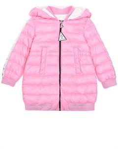 Розовый удлиненный пуховик бомбер Rose детский Moncler
