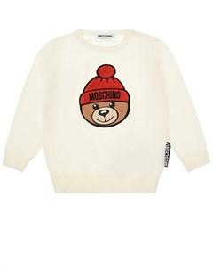 Белый джемпер с патчем медведь в шапке детский Moschino
