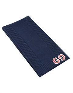 Синий шерстяной шарф с логотипом Gucci