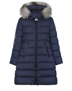 Синее пальто приталенного кроя Moncler