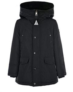 Черная пуховая куртка с логотипом Moncler