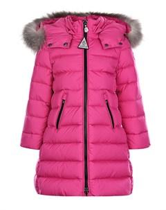 Розовое пуховое пальто приталенного кроя Moncler