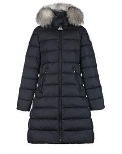 Черное стеганое пальто Moncler