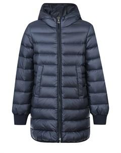 Синее пуховое пальто с боковыми разрезами Moncler