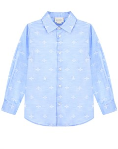 Рубашка из хлопка голубого цвета Gucci