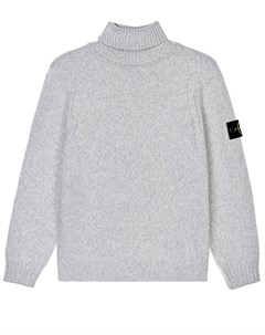 Серый меланжевый свитер детский Stone island