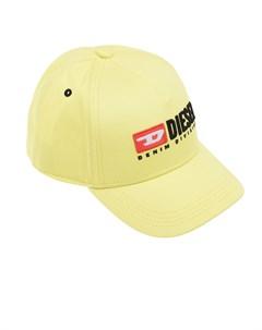 Желтая бейсболка с патчем детская Diesel