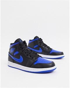 Синие кроссовки средней высоты с черными вставками Nike Air 1 Черный Jordan