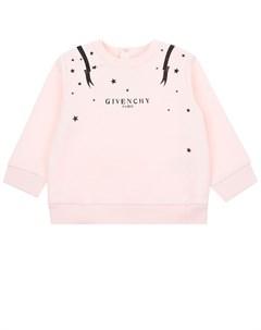 Розовый свитшот с длинными рукавами детский Givenchy