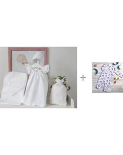Крестильный набор Пелагея для девочки с комбинезоном MamaPapa Sleep and Play Кокосы Mjolk
