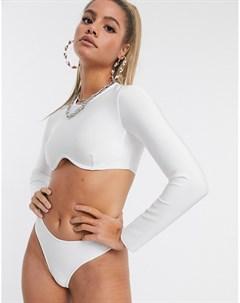Белые бандажные плавки бикини с высоким вырезом бедра Белый Public desire