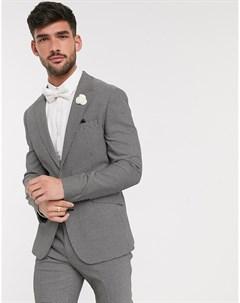 Черно белый фактурный приталенный пиджак wedding Asos design