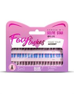 Накладные ресницы Foxy Lashes XS S черные голубые Selfie star