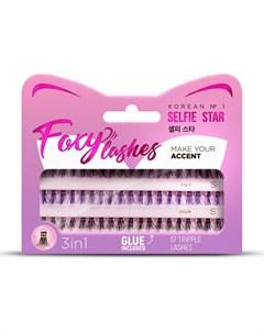 Накладные ресницы Foxy Lashes XS S черные фиолетовые Selfie star