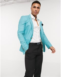 Синий льняной приталенный пиджак wedding Asos design