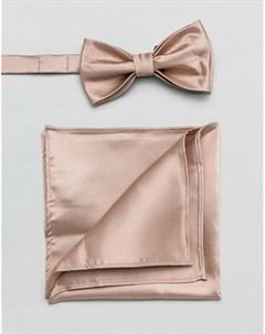 Розовый атласный галстук бабочка и платок для пиджака Devils advocate