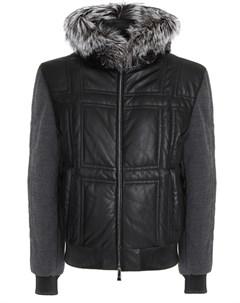 Куртка кожаная с капюшоном Schiatti