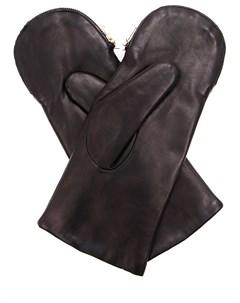 Варежки кожаные на меху Eleganzza