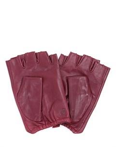 Перчатки митенки кожаные Karl lagerfeld