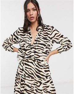 Кремовая рубашка с принтом зебра Кремовый Levete room