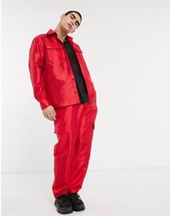 Красная рубашка в стиле милитари с длинными рукавами Красный Milk it