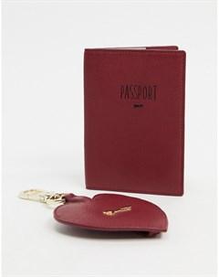 Красная кожаная обложка для паспорта и брелок в форме сердца Красный Paul costelloe