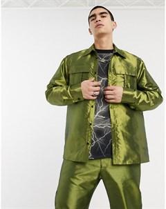 Зеленая рубашка в стиле милитари с длинными рукавами Зеленый Milk it