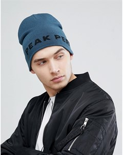 Синяя шапка бини с логотипом PP Синий Peak performance