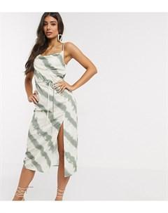 Эксклюзивное платье миди со свободным воротом и принтом тай дай Мульти 4th + reckless tall