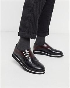 Черные бордовые кожаные броги London Черный Feud
