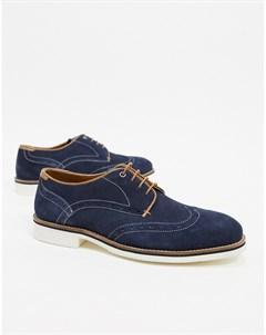 Темно синие туфли с контрастной шнуровкой Silver street Темно синий