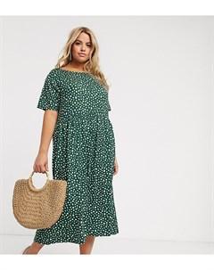Платье миди с пятнистым принтом Зеленый Wednesday's girl curve