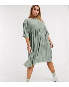 Плиссированное платье с завязками на спине Зеленый Another reason plus