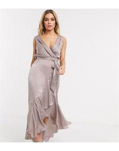 Атласное платье мидакси с запахом Бежевый Flounce london