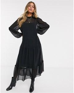 Черное ярусное платье макси из ткани добби с высоким воротником Черный Asos design