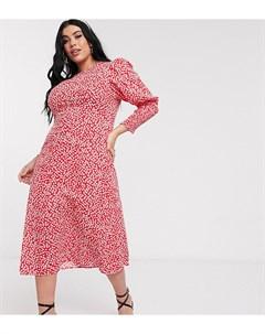 Красное платье мидакси с длинными рукавами и цветочным принтом Красный Never fully dressed plus